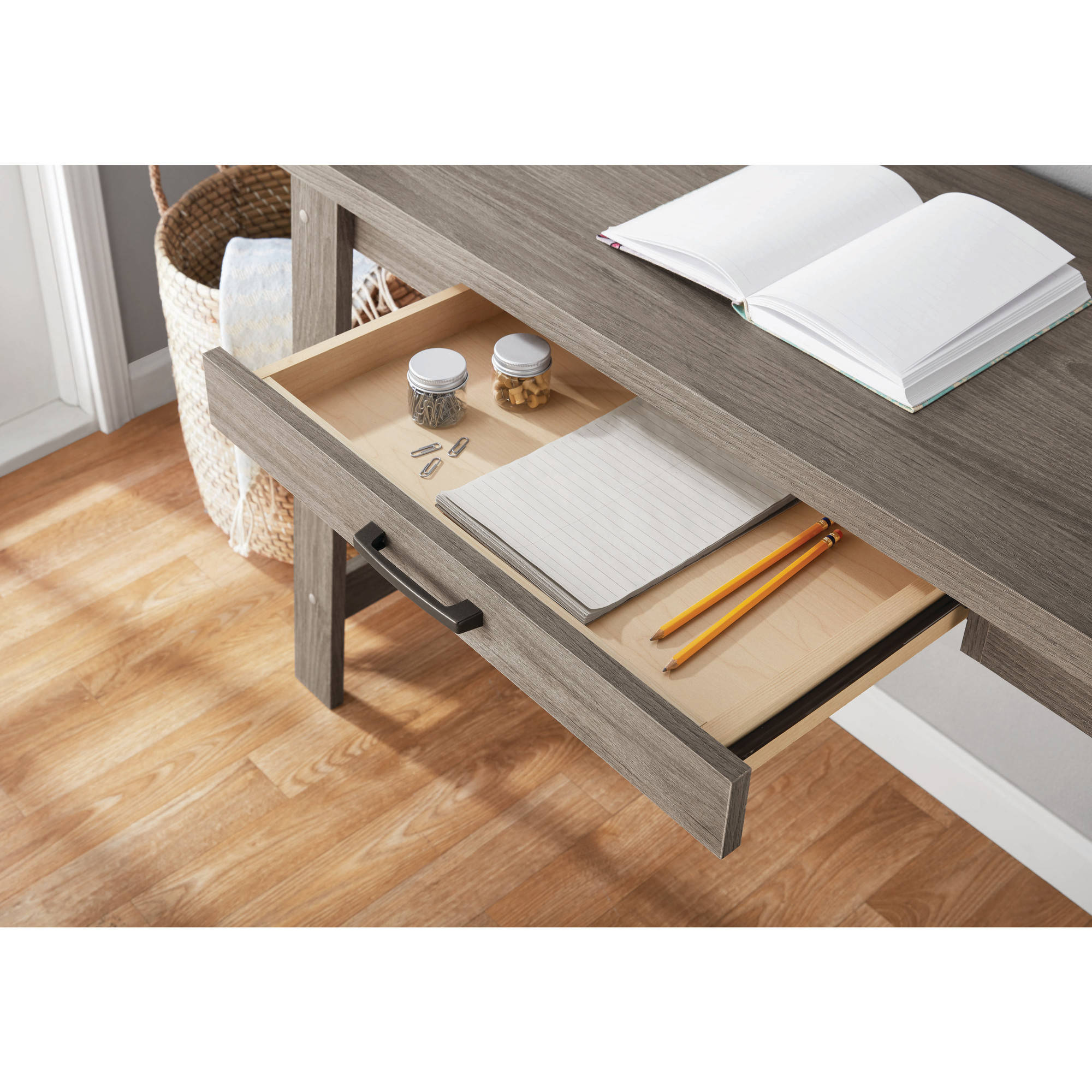 writing computer desk home office workstation table with 1 drawer rustic oak new auctions buy. Black Bedroom Furniture Sets. Home Design Ideas