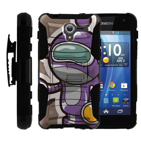 TurtleArmor ® | For Kyocera Hydro View | Hydro Reach | Hydro Shore [Hyper Shock] Hybrid Dual Layer Armor Holster Belt Clip Case Kickstand - Space