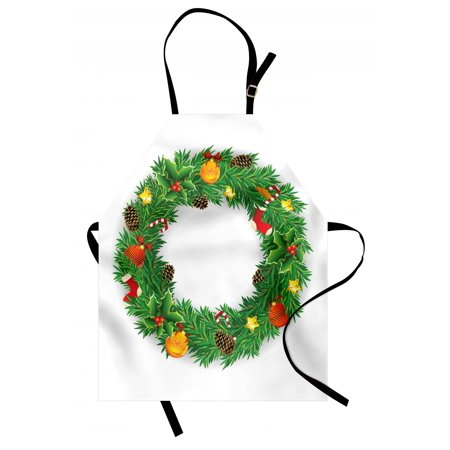 Christmas Apron Festive Wreath Evergreen with Candy Cane Stockings Mistletoe Berries on Door, Unisex Kitchen Bib Apron with Adjustable Neck for Cooking Baking Gardening, Green White, by Ambesonne