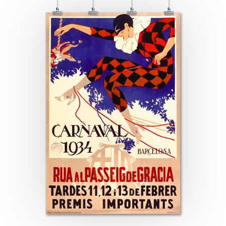Carnaval 1934 Barcelona Vintage Poster Spain c. 1933 (36x54 Giclee Gallery Print, Wall Decor Travel Poster)