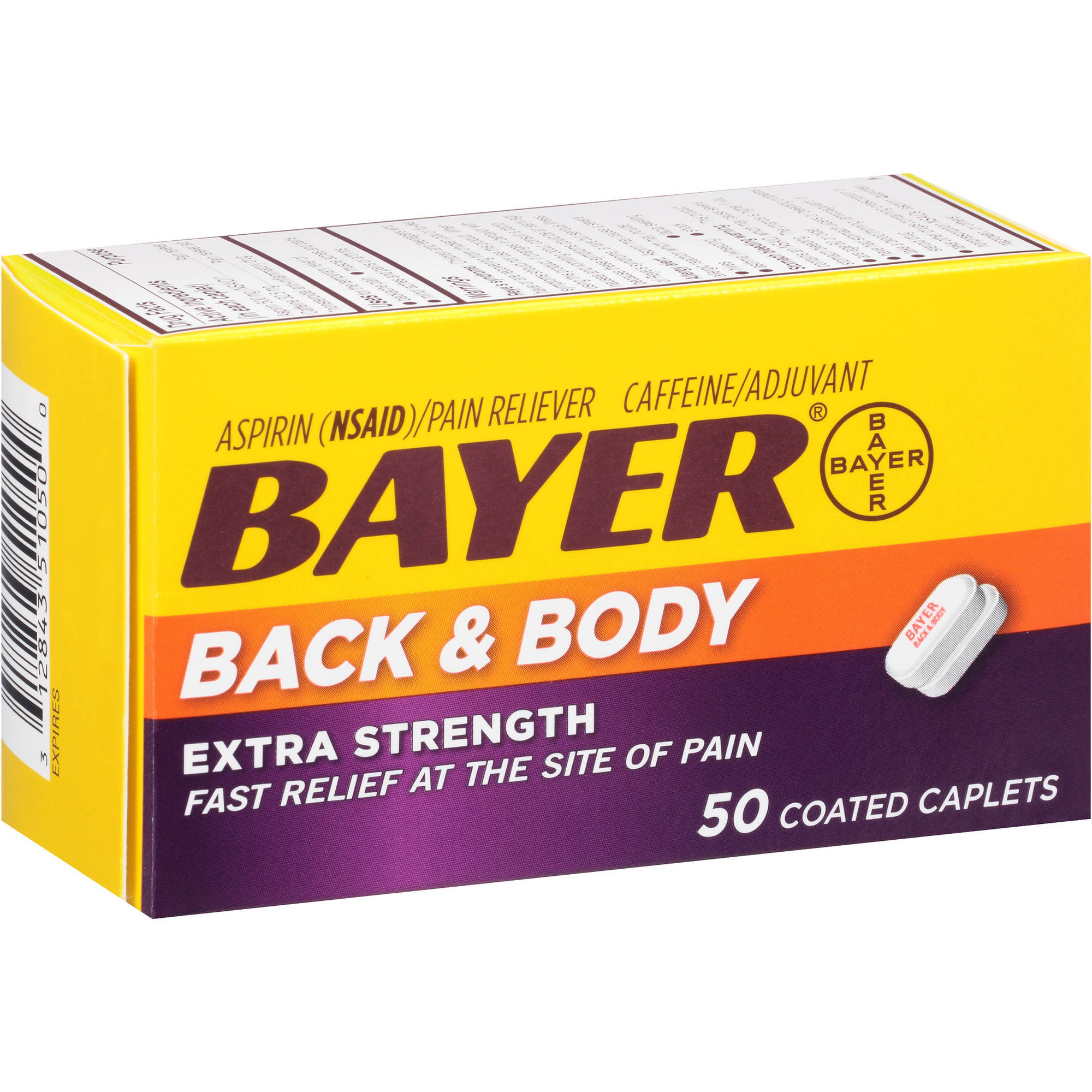 Bayer Aspirin Pain Reliever, Extra Strength Back & Body Pain, 50 CT (Pack of 6)