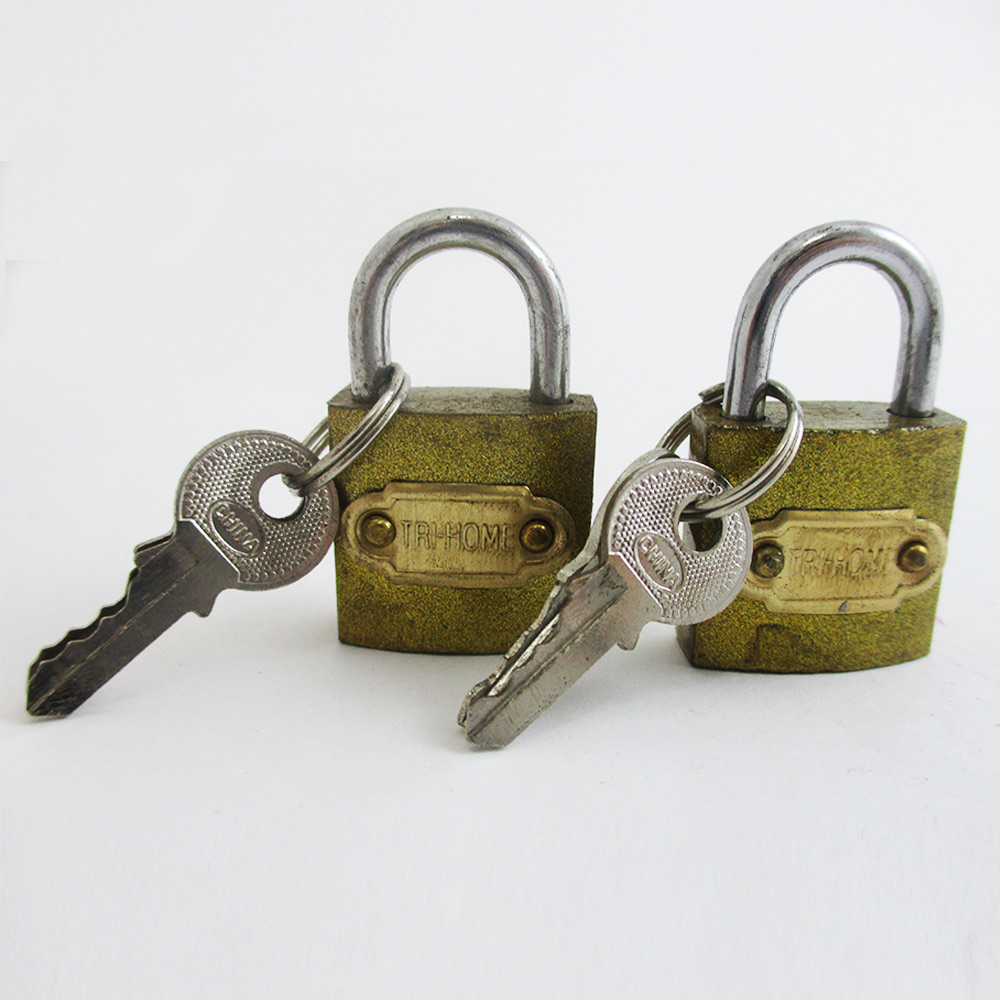 "2 Small Metal Padlocks Heavy Duty 1"" Brass Box Locks Keyed Jewelry 2 Keys 25mm !"
