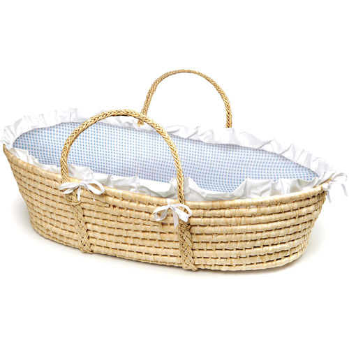 Badger Basket Natural Moses Basket, Blue Gingham Bedding