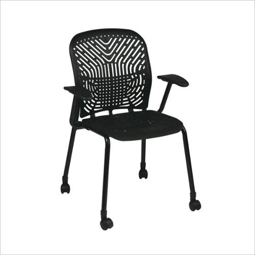 Office Star 801 Raven Visitors Guest Chair with BF and Arms and Casters (Set of 2)