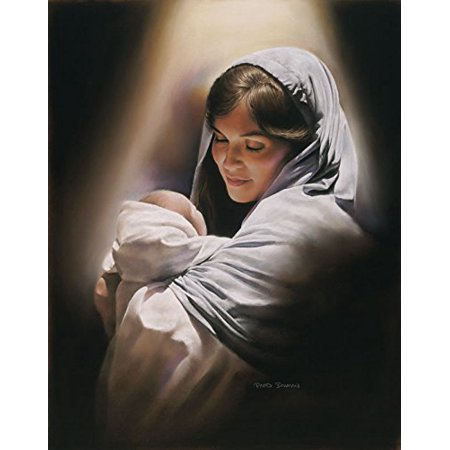 Love - 11x14 Wall Art Print Mary Holding Baby Jesus Christ by David Bowman Madonna and Child Religious Spiritual Christian Fine Art (Jesus Holding Baby)