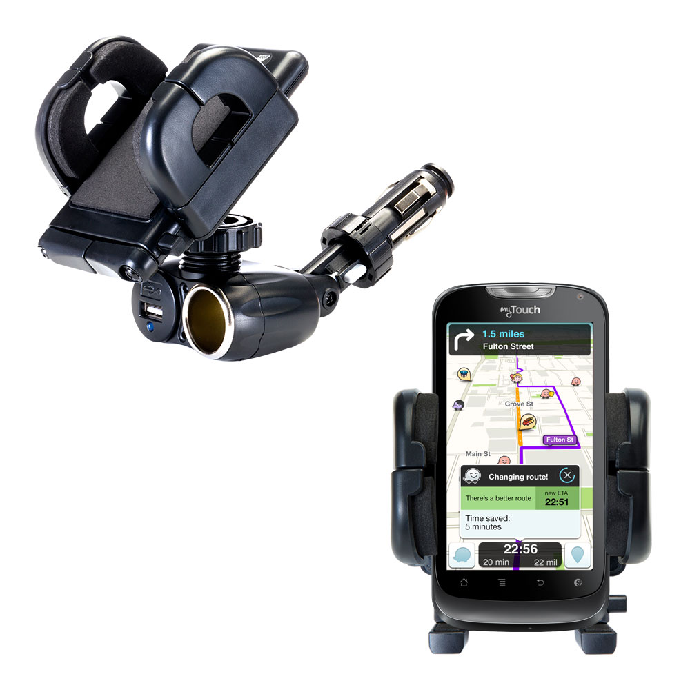 Dual USB / 12V Charger Car Cigarette Lighter Mount and Holder for the T-Mobile myTouch 2
