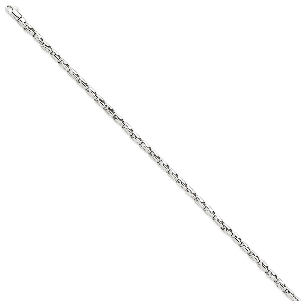 14k White Gold 8.25in 3mm Fancy Link Men's Chain Bracelet