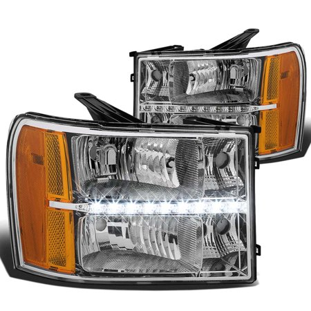 For 2007 to 2013 GMC Sierra 1500 2500 3500 LED DRL Light Bar Headlight Chrome Housing Amber Corner Headlamp 08 09 10 11 12 Left+Right 1995 Gmc K1500 Headlight