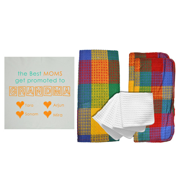 "Personalized ""Best Moms Get Promoted"" 8 Piece Kitchen Towel Set"