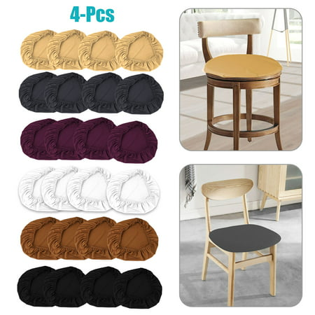 EEEKit 4 Pcs Elastic Spandex Chair Stretch Seat Covers Protector for Dining Room Kitchen Chairs Stretchable, Dinning Chair Furniture Cushion Cover Slipcover Slip Cover for Round & Square Chairs Round Furniture Cover