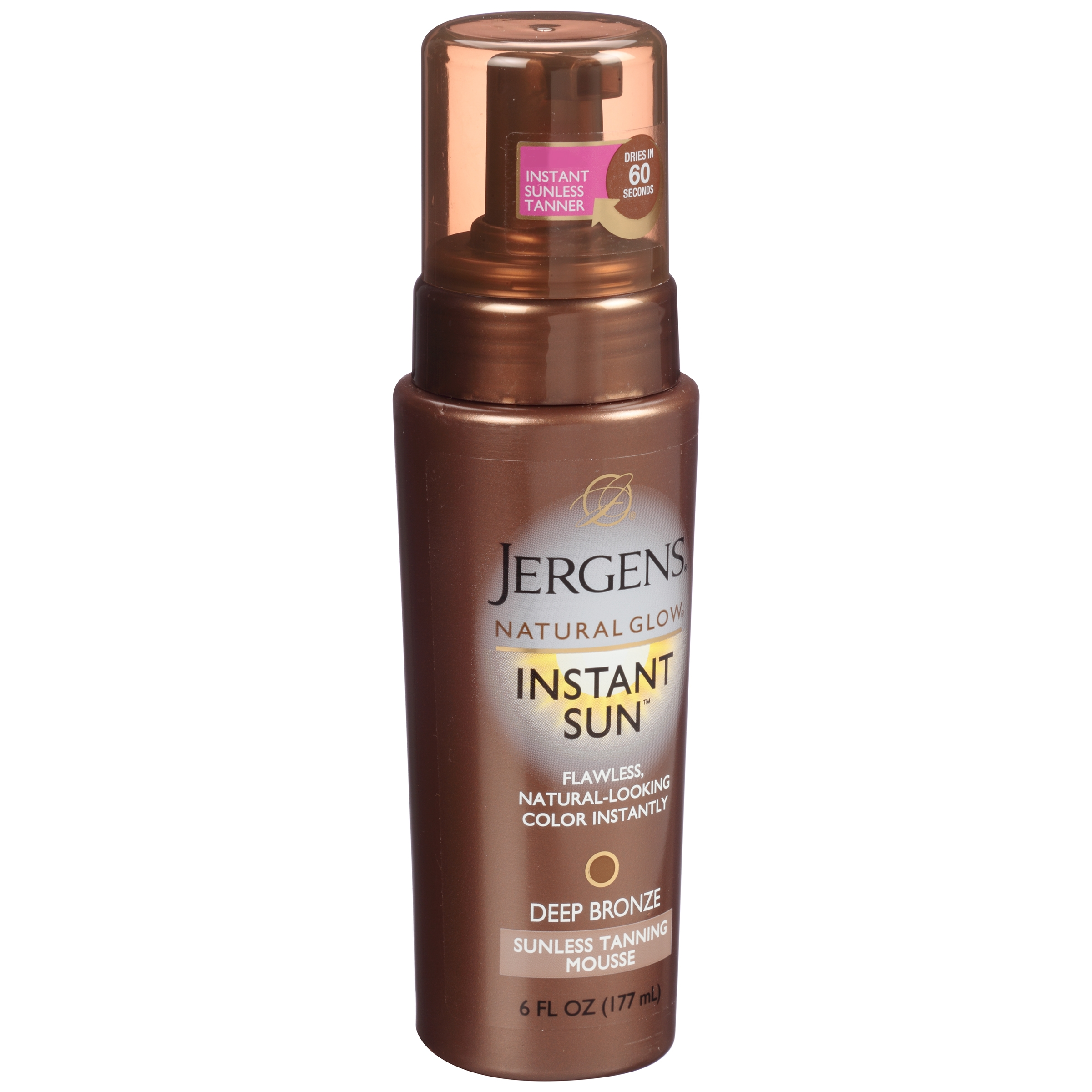 Jergens Natural Glow Instant Sun Deep Bronze Sunless Tanning Mousse 6 fl. oz. Pump