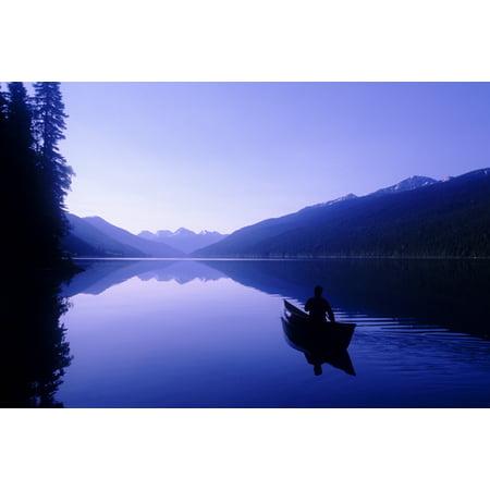 Silhouette Of A Canoeist At Sunrise Isaac Lake Bowron Lake Provincial Park Bc Canvas Art - Josh McCulloch Design Pics (18 x 12)
