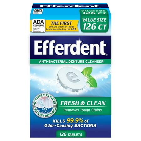 Efferdent Plus Mint Anti-Bacterial Denture Cleanser, 126