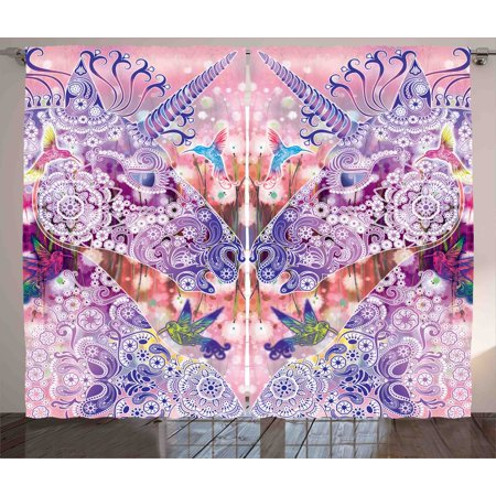 Unicorn Curtains 2 Panels Set, Magical Fantasy Animal with Floral ...