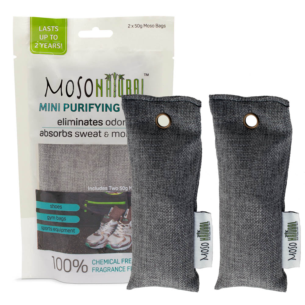 MOSO NATURAL Mini Air Purifying Bag - 2 Pack. Bamboo Charcoal Air Freshener, Deodorizer, Odor Eliminator, Odor Absorber For Shoes, Gym Bags and Sports Gear. Charcoal Color