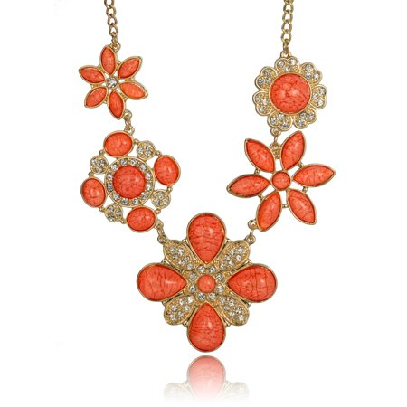 - Designer Flower Gold-tone Chain Necklace Set Matching Earrings by Jewelry Nexus