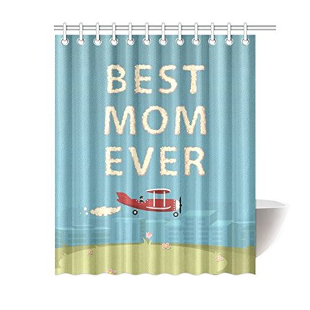 BPBOP Best Mom Ever Waterproof Fabric Shower Curtain 60x72