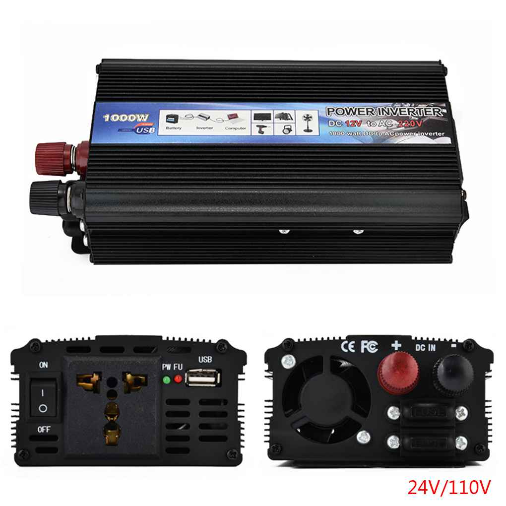 XUYUAN Car Inverter DC 12V/24V to AC 220/110V 1000W Car C...