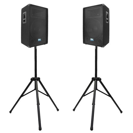 "Seismic Audio Pair of 12"" PA Speakers with two Tripod Speaker Stands PA DJ Band PA Package SA-12T-PKG3 by"