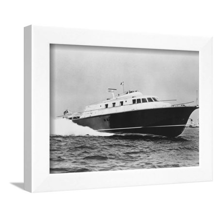 Large Yacht Offshore Framed Print Wall Art