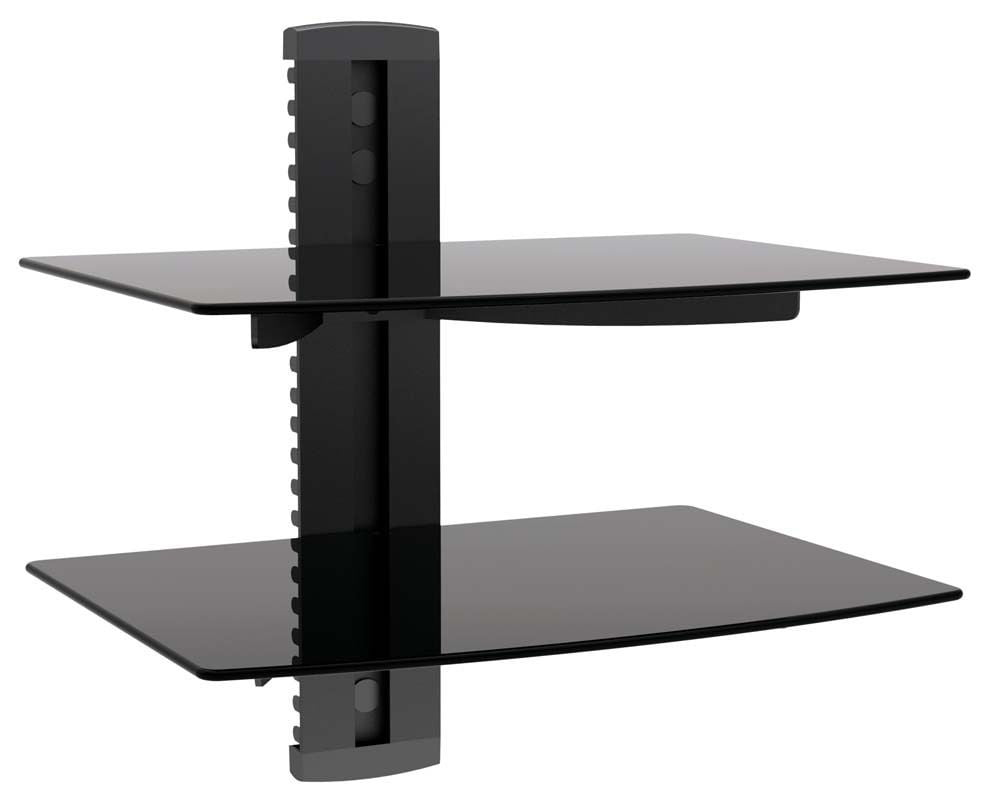 Impact Mounts 2 Tier Dual Glass Shelf Wall Mount Under Tv Cable Box