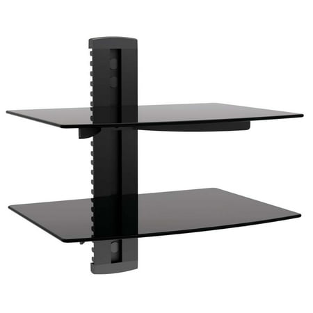 Impact Mounts 2 TIER DUAL GLASS SHELF WALL MOUNT UNDER TV CABLE BOX COMPONENT DVR DVD BRACKET - Glass Shelves Electronic