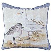 "Shore Birds Beach Decorative Tapestry Throw Pillow 17"" x 17"