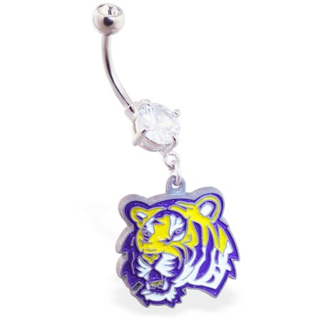 Mspiercing Belly Ring With Official Licensed NCAA Charm, Louisiana State University Tigers