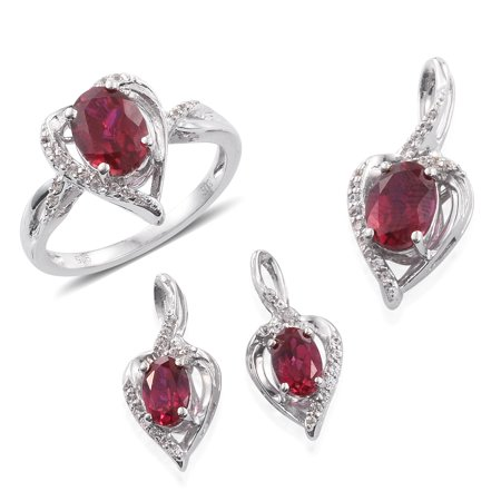 "925 Sterling Silver Oval Synthetic Ruby Multi Gemstone Earrings Pendant Ring Size 7"" Cttw 10.8"