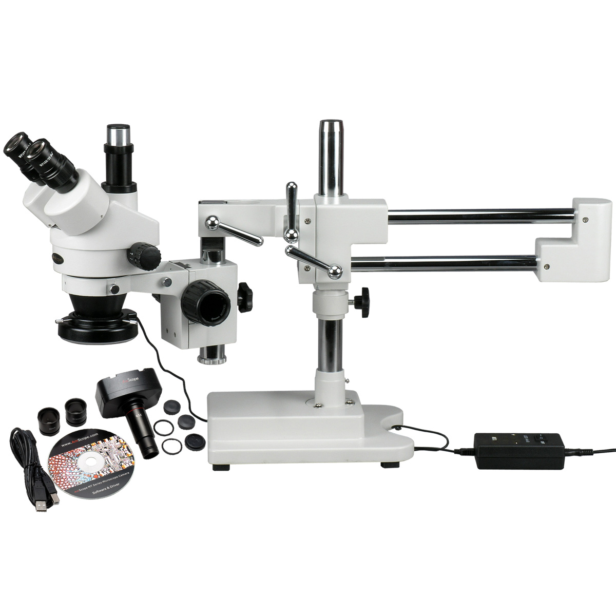 AmScope 3.5X-90X Circuit Zoom Stereo Microscope + 144 LED Light + 10MP Digital Camera New