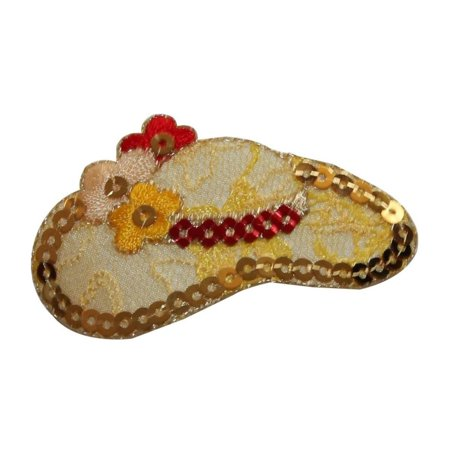 ID 7698 Gold Sequin Flower Sun Hat Patch Fashion Embroidered Iron On Applique