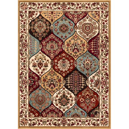 Dynasty Panel Oriental Floral Geometric Modern Casual Area Rug Easy to Clean Stain Fade Resistant Shed Free Contemporary Formal Lattice Trellis Soft Living Dining Room -