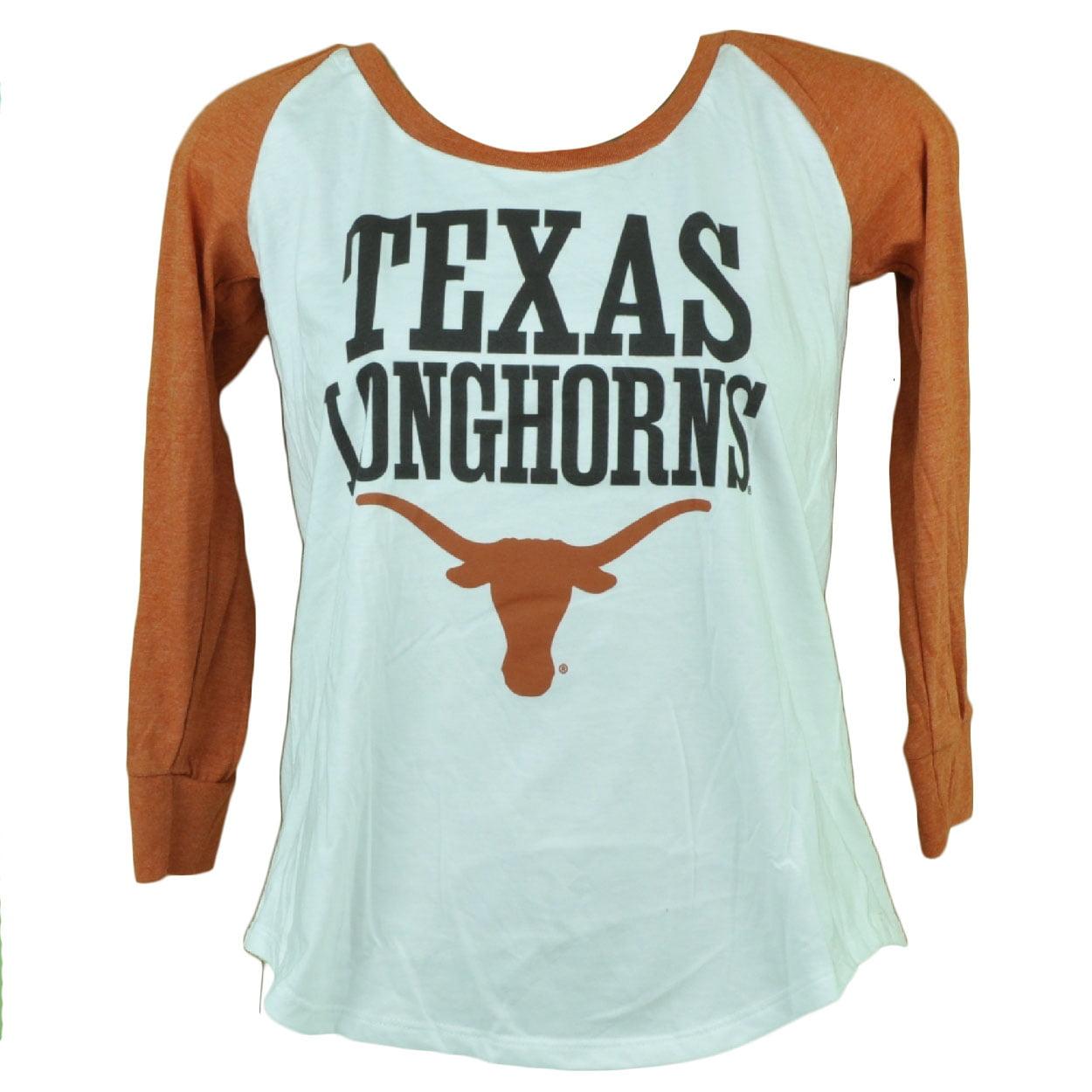 NCAA Texas Longhorns Womens Ladies Mid Sleeve Tshirt Tee Orange White XLarge XL