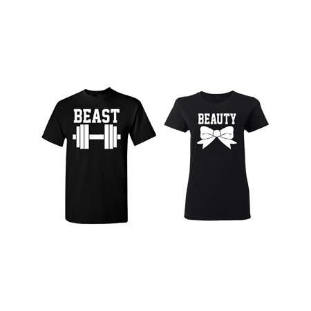 (Beast - Beauty Couple Matching T-shirt Set Valentines Anniversary Christmas Gift Men Small Women Small)
