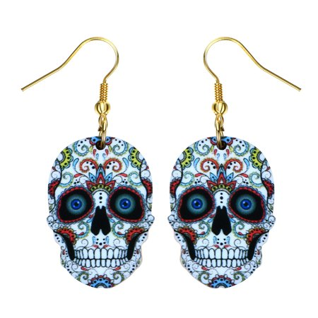 Sugar Skull Earrings (Sugar Skull Earrings Bright Colorful White Skull Head Colorful Design Earrings)