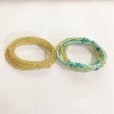 AkoaDa 2pcs Sexy Handmade Waist Chain Glass Beads Beach Bikini Belly Chain Double Chain