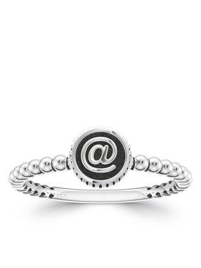 Bixler Alphabet Beaded Shank '@' Ring In Sterling Silver
