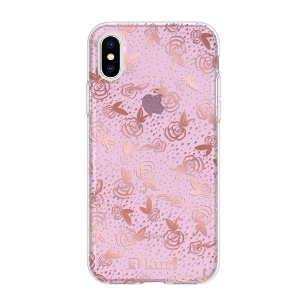 kurl iPhone XS and iPhone X Printed Fashion Case - Rose Gold Roses Design