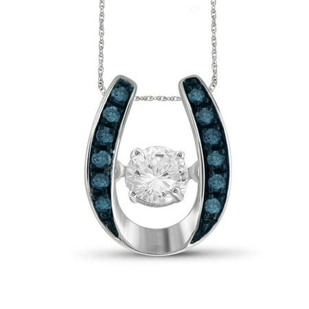 1/5 Carat T.W. Blue and White Diamond 10kt White Gold U Shaped Horseshoe Pendant