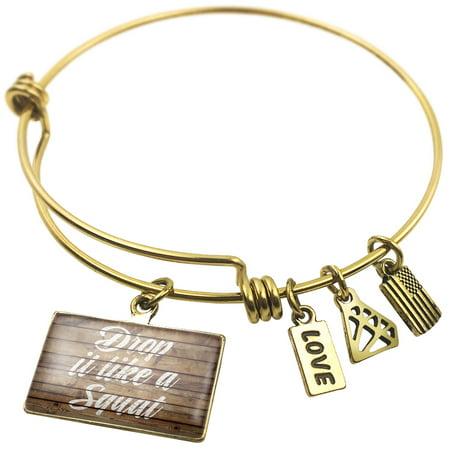 (Expandable Wire Bangle Bracelet Painted Wood Drop it like a Squat - NEONBLOND)