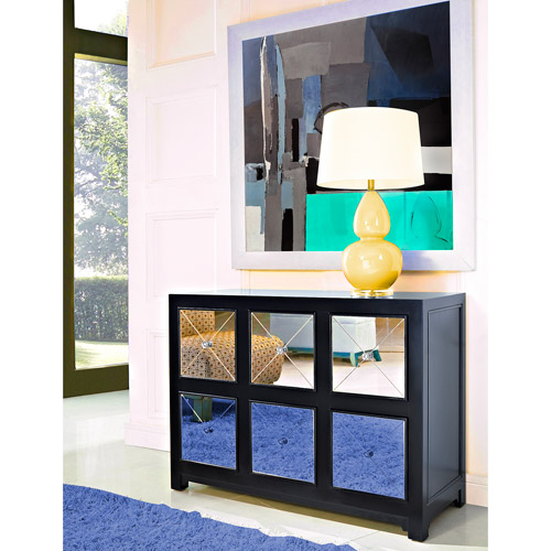 Mirrored 6-Drawer Console Table, Black