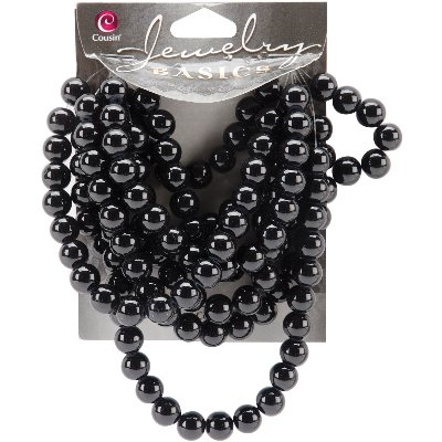 Jewelry Basics Glass Beads, 8mm, 130pk, Black Opaque Round