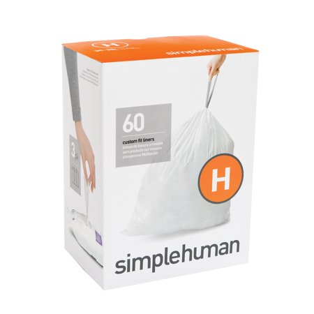 simplehuman 3 x 20pk (60 liners), code H custom fit liners - 30-35 l / 8-9 gal ()