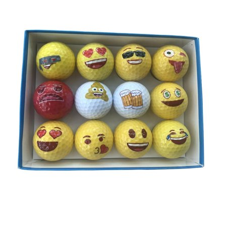 Elegantoss 12 pack Emoji Golf Balls Set, Unique Play & Practice Golf Balls, Novelty Fun Gifts for All Golfers](Novelty Golf Balls)