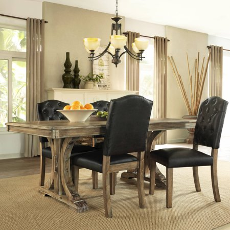 Generic 5 Piece Rustic Wood Dining Set
