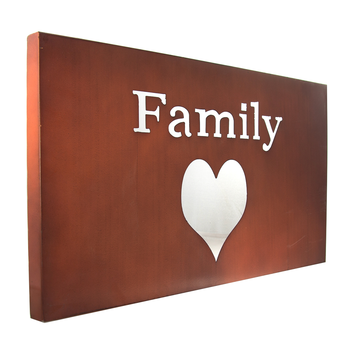 Family Heart  Metal Wall Art Love Motivational Word Sign Decor Plaque Home 22