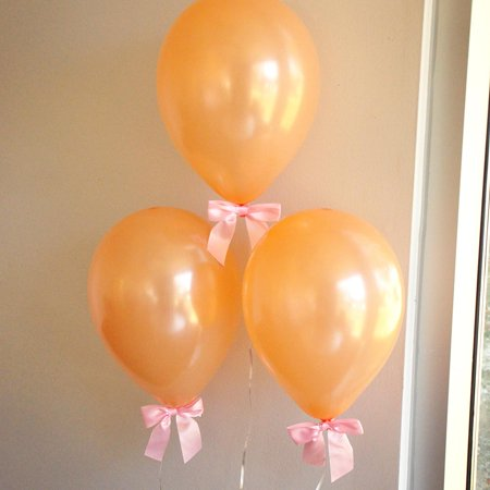 Easter Balloon - Some Bunny is One Party Decorations. Peach balloons with Pink Bows 8CT + Curling Ribbon. Spring Baby Shower.