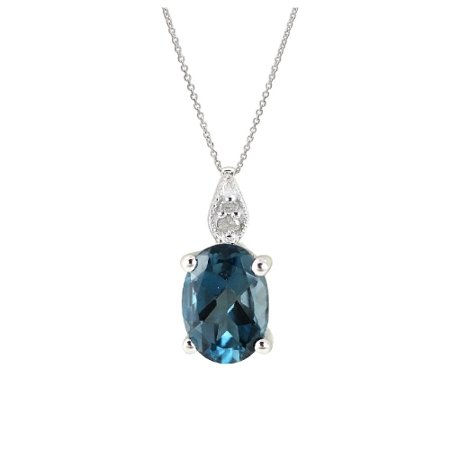 Genuine 0.97 Ctw Natural Oval Shaped 7x5mm London Blue Topaz Gemstone With Diamond Necklace In 925 Sterling Silver