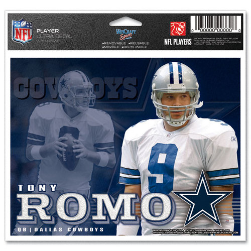 NFL - Tony Romo - Dallas Cowboys 5x6 Cling Decal