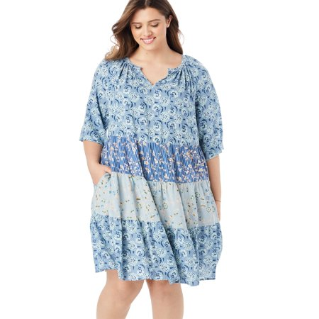 Woman Within Plus Size Tiered Trapeze Dress